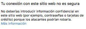 Aviso web no segura navegador