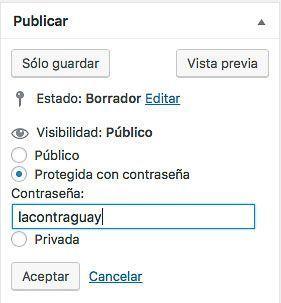Proteger página WordPress con contraseña