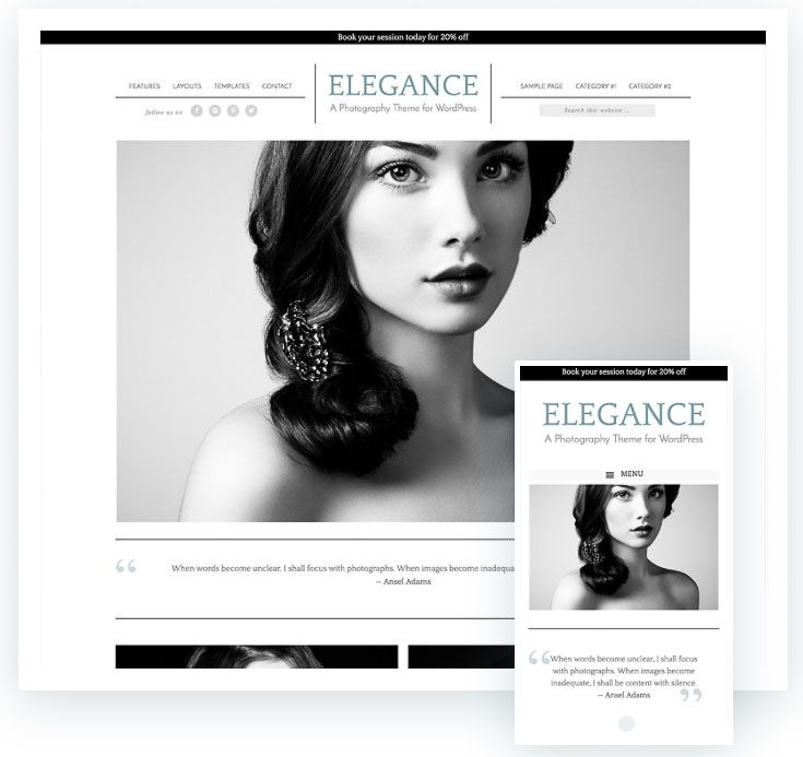 Elegance Pro plantilla fotografía WordPress