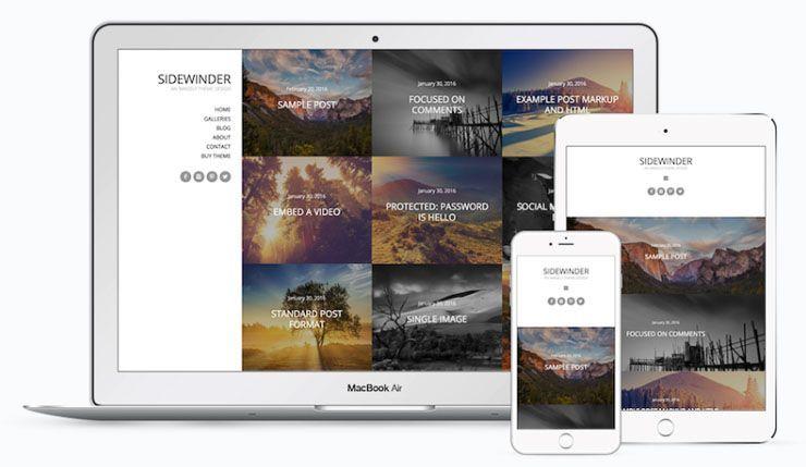 Sidewinder Imagely plantilla fotografía WordPress