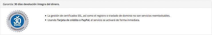 Garantía devolución Webempresa