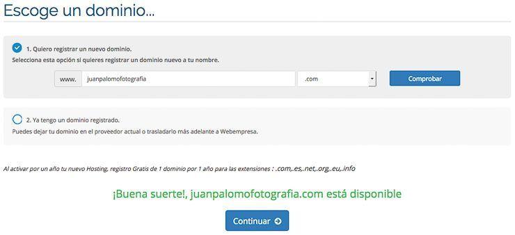 registrar nuevo dominio Webempresa