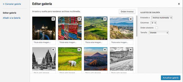 Ordenas fotografía galería WordPress