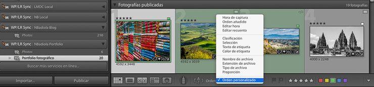 Ordenas fotografía galería WordPress desde Lightroom