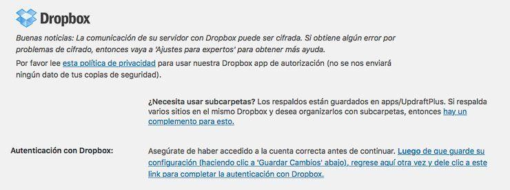 Backup en Dropbox con UpdraftPlus
