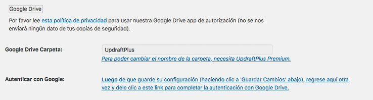 Configuracion Backup en Google Drive con UpdraftPlus