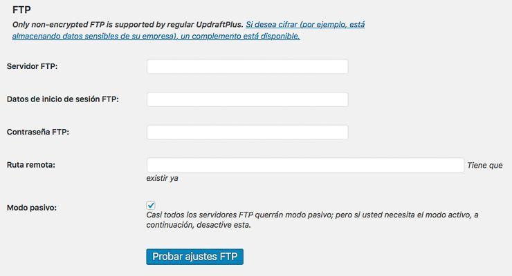 Configuración Backup mediante ftp con UpdraftPlus