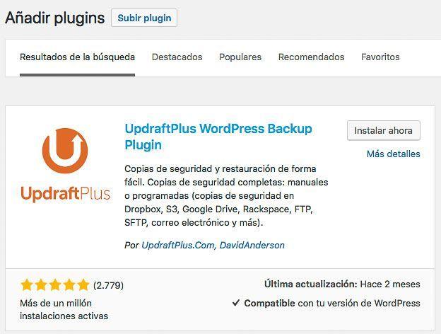 Pantalla para instalar UpdraftPlus copia de seguridad WordPress