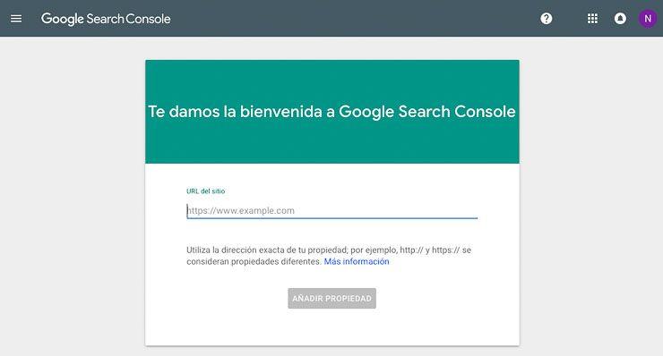 Añadir sitio web a Search Console