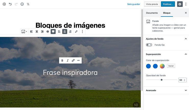 Bloque imagen de fondo WordPress