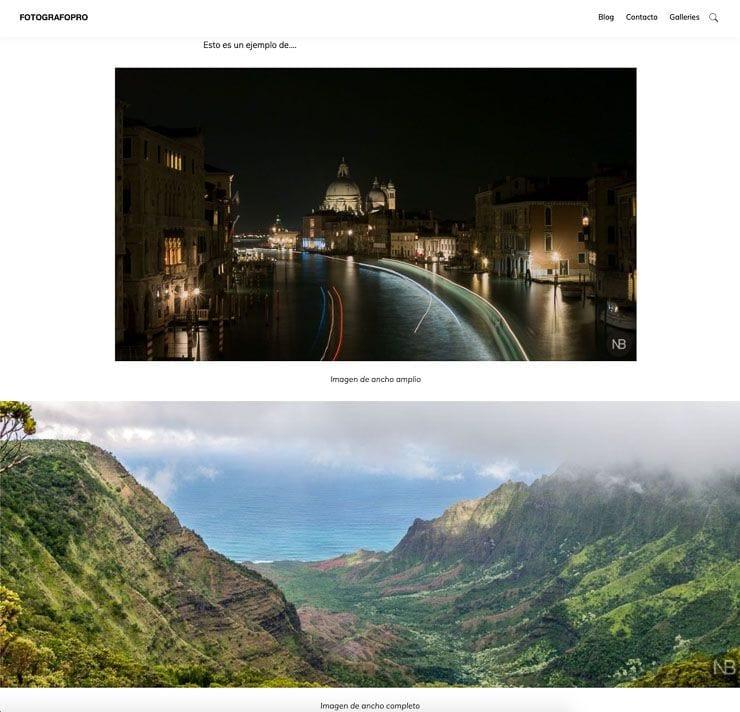 Imagen ancho amplio y completo WordPress