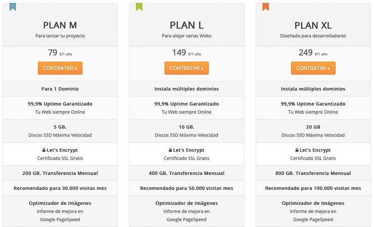 Tabla de precios de Webempresa alto almacenamiento