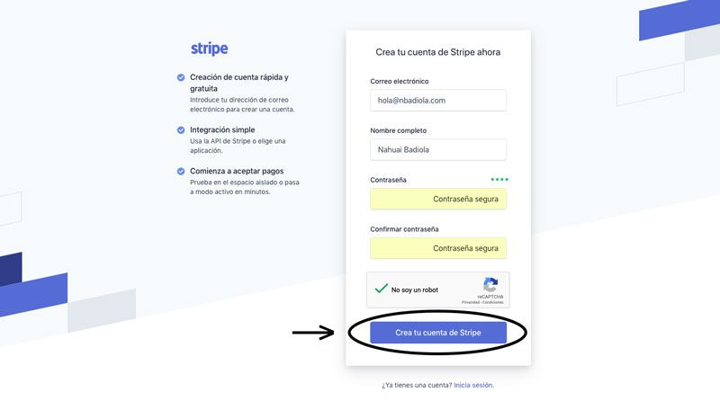 Formulario para crear una cuenta en Stripe