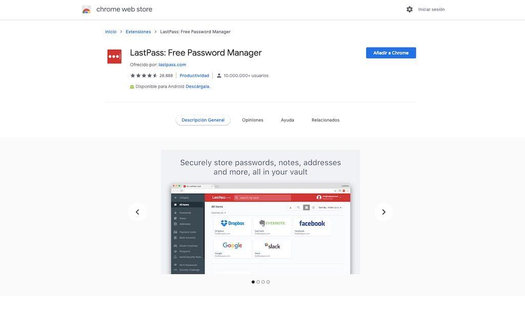 Instalar la extensión de lastpass para Chrome