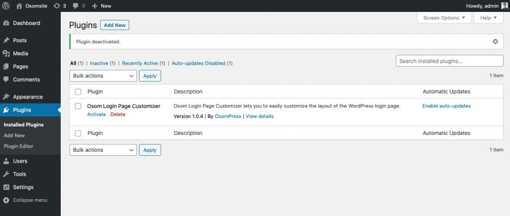 Plugin Osom Login WordPress Customizer listo para activar